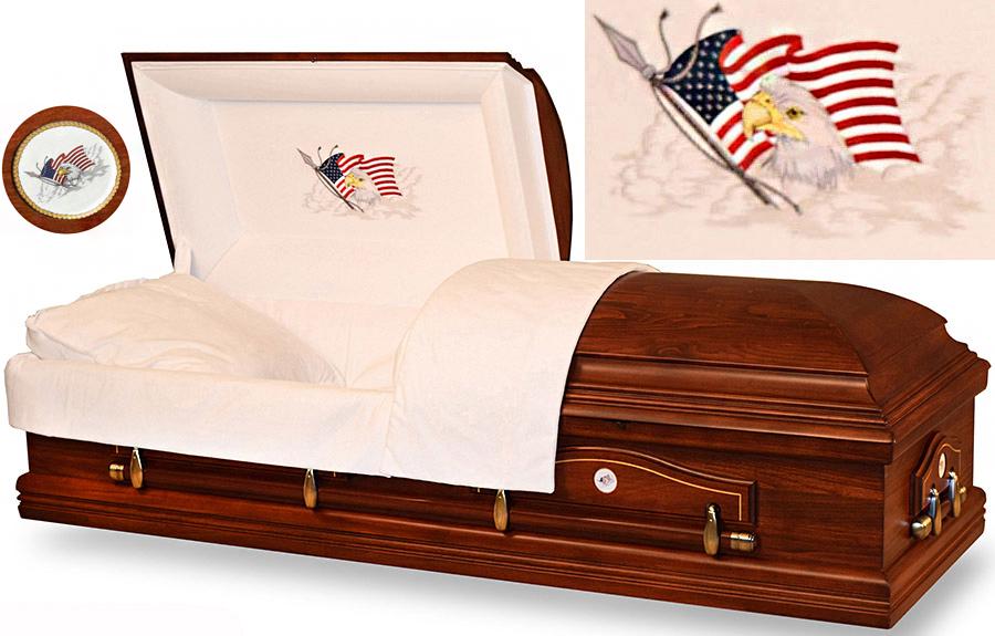 7863 - American Eagle Casket<br>Solid Poplar, Ivory Crepe Interior
