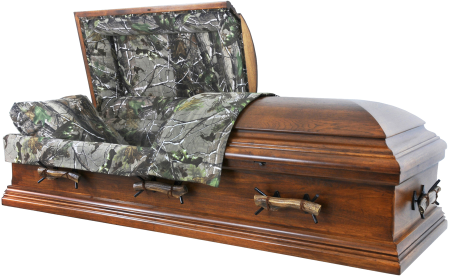 best price caskets: 7896x - camo casket -rustic hickory<br>hunter's