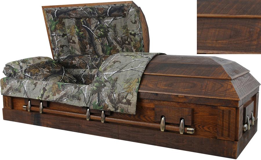 best price caskets: 7874 - camouflage casket - solid barnyard oak<br