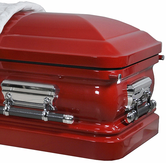 best price caskets: 8216 - 18 gauge steel casket<br>red casket with