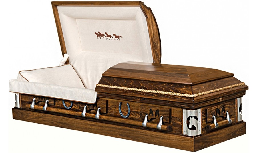 Best Price Caskets: 9363 - Deluxe Cowboy Casket, Horse Casket- Rope